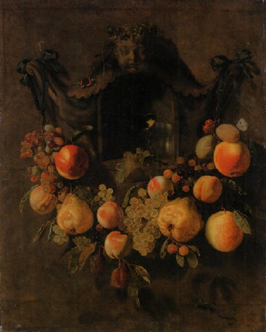 a swag of grapes peaches pears apples and plums decorating a nich with a roemer by pieter van den bos