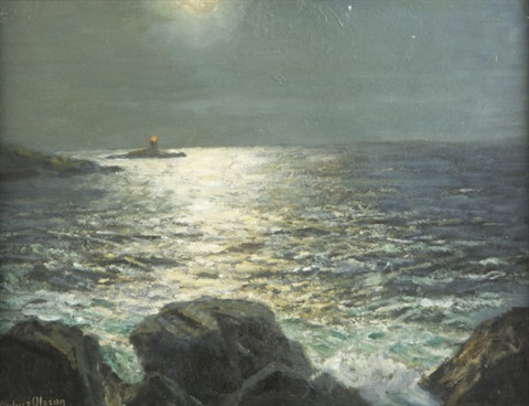 lighthouse at moonlight by julius olsson