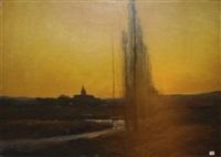 paysage au soleil couchant by louis alexandre cabié