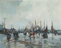 le déchargement sur les quais du port by lucien victor félix delpy