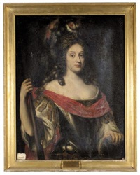 portrait of elizabeth charlotte, daughter of prince charles louis, elector palatine and wife of philip duc d'orléans, as minerva by johann hulsmann