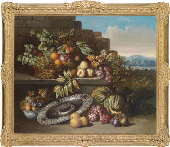 ein früchtestillleben mit einer silbernen prunkschale auf einem sockel in einer weiten landschaft by jan pauwel gillemans the elder