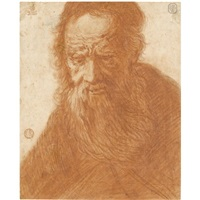 head of a bearded old man by jacques des rousseaux