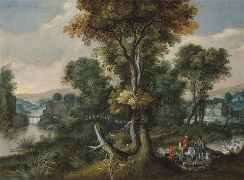 a wooded river landscape with huntsmen at rest villagers beyond by david vinckboons