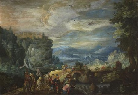 a wooded river landscape with figure being baptised by paul bril