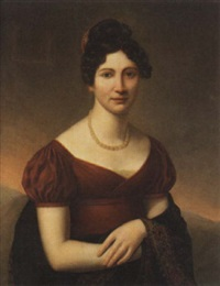 a portrait of a lady in a red empire dress wearing a beaded haircomb by jean-pierre granger