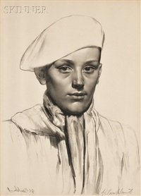 the basque boy and head of a girl (anais, mélisande) (2 works) by gerald leslie brockhurst