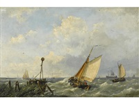 fishing boats in a stiff breeze offshore by hermanus koekkoek the younger