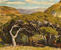 horses under trees, carmel valley by howard everett smith