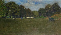 park scene with deckchairs by william brooker