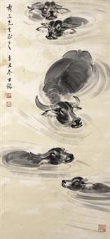 五牛图 by liang zhongming