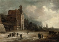 soldiers playing skittles on a road by a manor house, a view of breda beyond by frans de momper