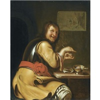 a smoking soldier by frans van mieris