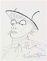 self-portrait caricature as coco chanel by katharine hepburn
