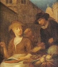 un marchand de légumes by jan van hoogstraten