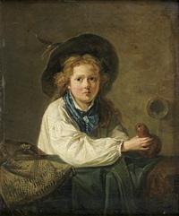 jeune garçon remplissant sa gourde à une fontaine by marc antoine bilcoq