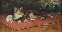 chatte et chatons sur un tapis by jules gustave leroy