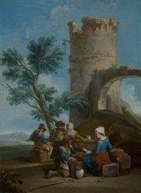 contadini presso un rudere antico by paolo monaldi