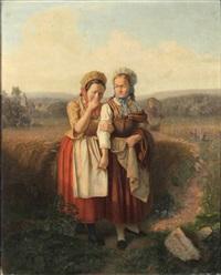 die werbung, zwei junge bäuerinnen in tracht auf einem feldweg, im hintergrund junger mann mit blumenstrauß by e. pezenburg