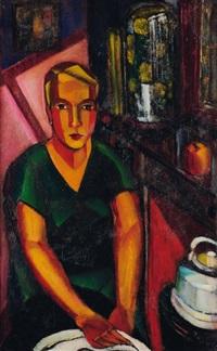 femme assise à la robe verte by jean vervisch