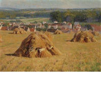 haystacks in a brittany landscape by elmer boyd smith