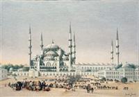 foule devant la mosquée sultan ahmed (istanbul) by jacob jacobs