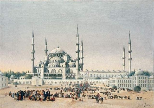foule devant la mosquée sultan ahmed istanbul by jacob jacobs
