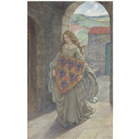 lancelot and elaine - then to her tower she climbed and took the shield, thus kept it and so lived in fantasy. the idylls of the king, alfred tennyson by eleanor fortescue-brickdale