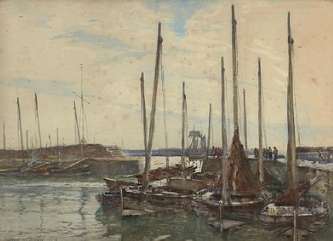 fishing boats in a harbor by robert weir allan