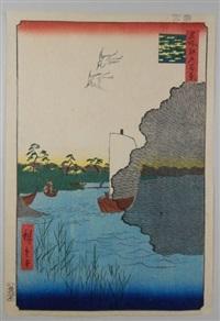 série des 100 vues célèbres d'edo. planche 61 - tonegawa barabarama. pins dispersés sur la rivière tonegawa by ando hiroshige