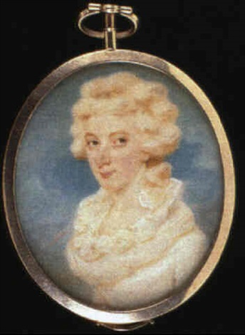 a lady with curled hair wearing a white dress with a ruffled collar sky background by edward miles