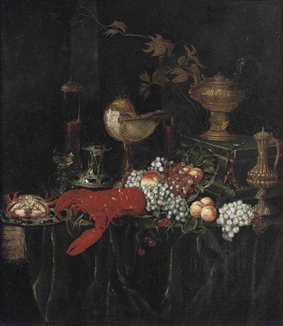 a lobster a crab on an enamelled plate peaches grapes glasses of wine and guilded vessels on a draped table by abraham van beyeren