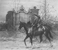two men, one black, riding horses past ruins of grand gate by william thomas smedley
