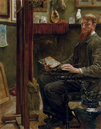 artist in his studio by huib (huber marie) luns