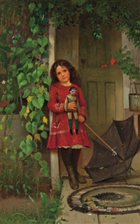 girl with doll by john george brown