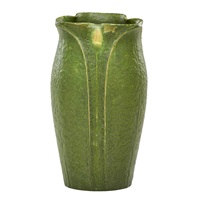 lobed vase with yellow buds by grueby