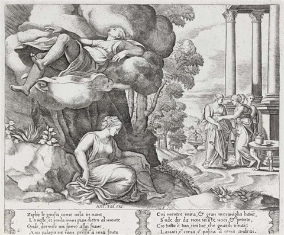la fable de psychée (after raphaël; suite of 32 + 9 doubles) by bernardo (dado) daddi