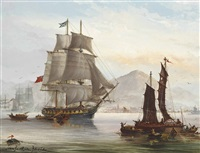 jardine mathieson's opium clipper falcon getting underway from her anchorage off hong kong by john bentham-dinsdale