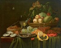 stillleben mit weintrauben, orangen, pfirsichen und austern by jan frans van son