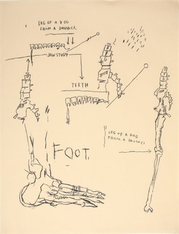 leg of a dog from a da vinci by jean michel basquiat