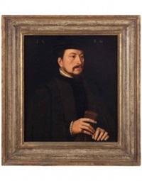 ritratto d'uomo con guanti nella mano destra by ambrosius benson