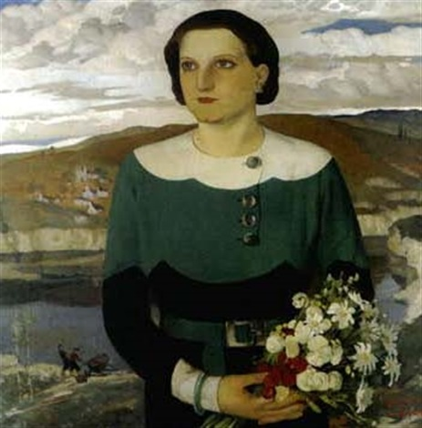 elégante au bouquet by georges popoff