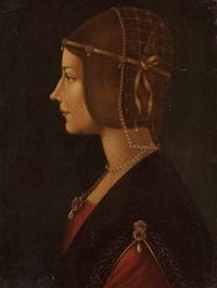 profil-portrait einer dame (beatrice d'este?) by pietro di giovanni d' ambrogio