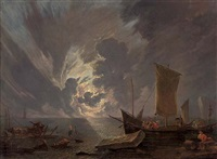 a coastal landscape at sunset with stevedores and shipping by lieve pietersz verschuier