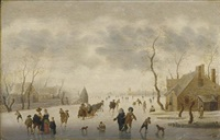 a winter landscape with elegant figures skating and a couple in a horse-drawn sleigh on the ice by anthonie van stralen
