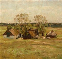 landscape with a thatched farm by julius paulsen