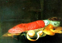 nature morte au homard by pieter van overschee
