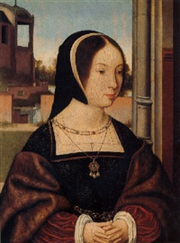 portrait of a lady (anne of bretagne?) by jan (joannes sinapius) mostaert