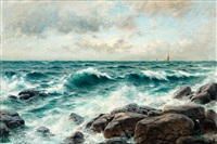 breaking waves on the beach by berndt adolf lindholm