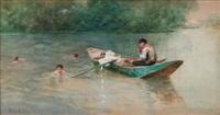 boys bathing by a punt by ferdinand heilbuth